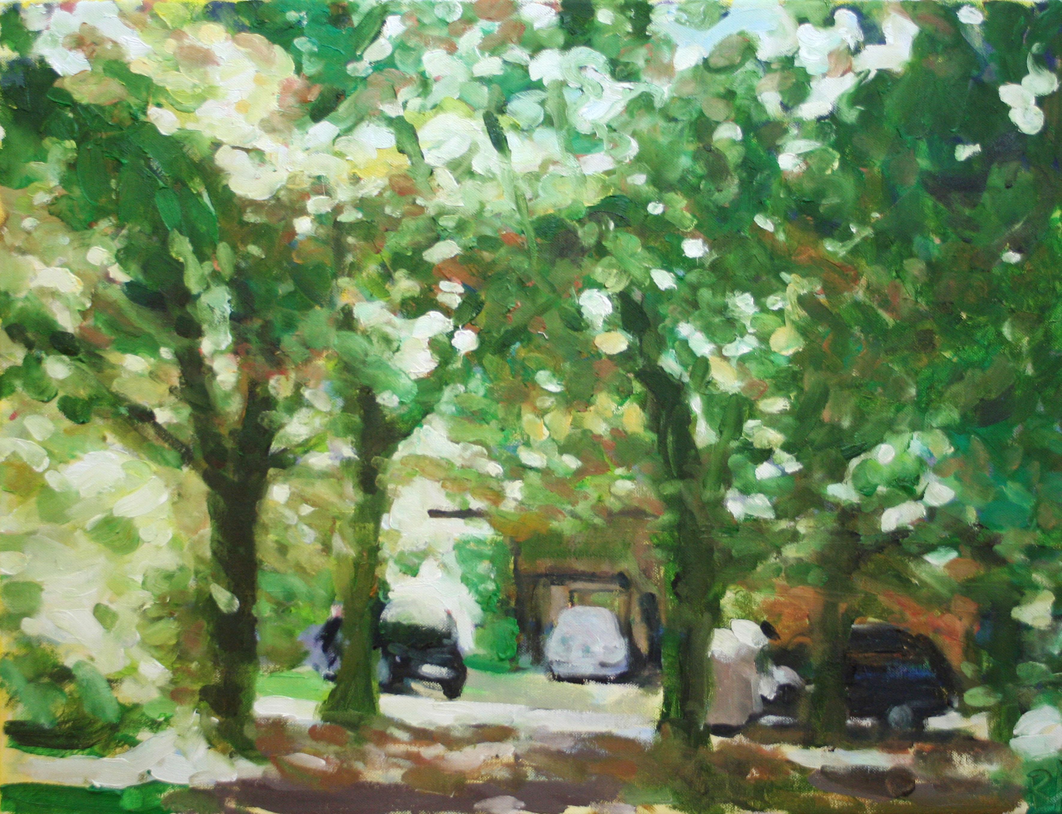 Grächwil, Autos unter Bäumen